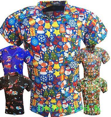 Christmas In Hawaii Party.Mens Christmas Shirt T Shirts Santa Xmas Hawaiian Hawaii Party Fancy Dress Ebay