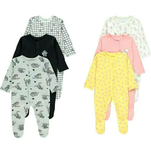 BABY DISNEY DUMBO MARIE CLOTHING 3 PACK SLEEPSUITS ALL IN ONE OUTFIT NIGHTWEAR