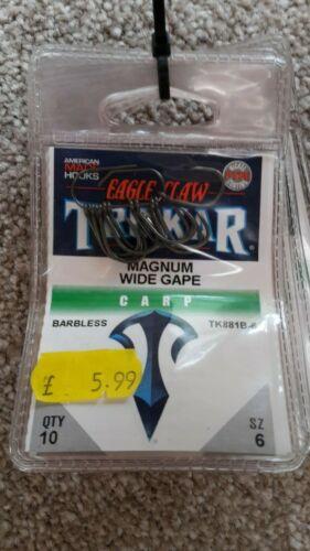 Eagle Claw Trokar Magnum Wide Gape Hooks Size 6 Barbless