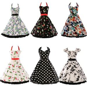 CHEAP~FLORAL SWING DRESS VINTAGE 1950's JIVE PINUP RETRO PARTY ...