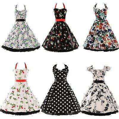 Cherry Print pinup 50s 60s ROCKABILLY VTG SWING PROM DRESS SIZE S M L XL