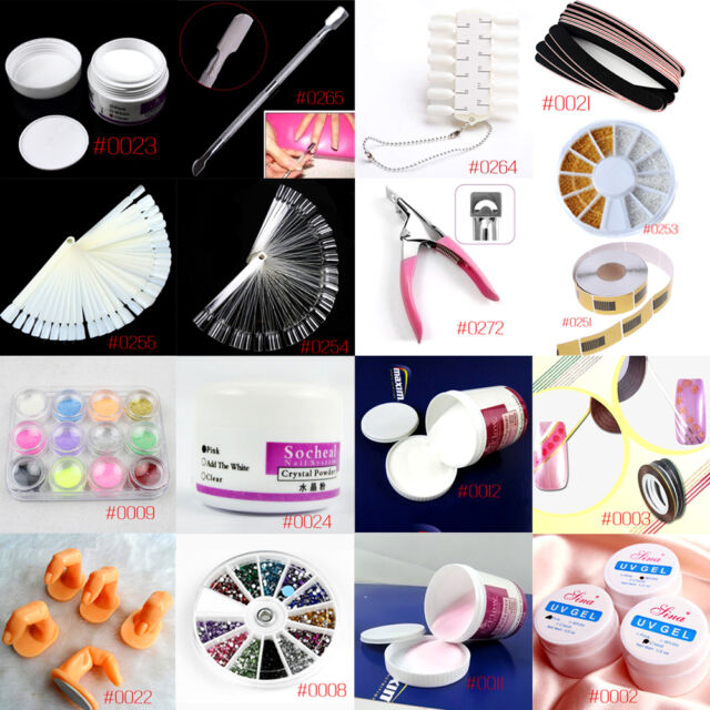 Nail Art Kit UV Acrylic Buffer Powder File Pen Decorations Tips Tool Set YMLA10