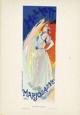 """""""HELYETT / MARJOLAINE"""" Planche originale entoilée Litho Georges DE FEURE 26x35cm"""