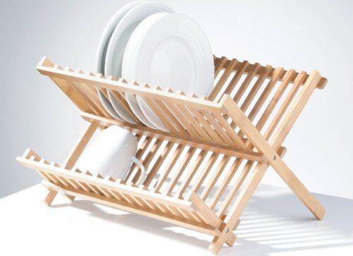 Bamboo Natural Kitchen Folding Dish Drainer Rack