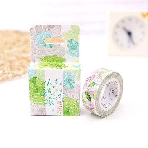 Colored Leaf pattern Paper Sticky Lable Sticker Decorative Masking Washi Tape