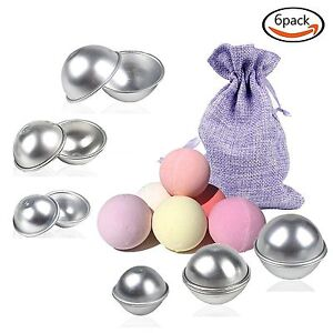Buy-one-get-one-FREE-12pcs-6-Sets-3-Sizes-Metal-Bath-Bomb-Molds-Purple-Bag
