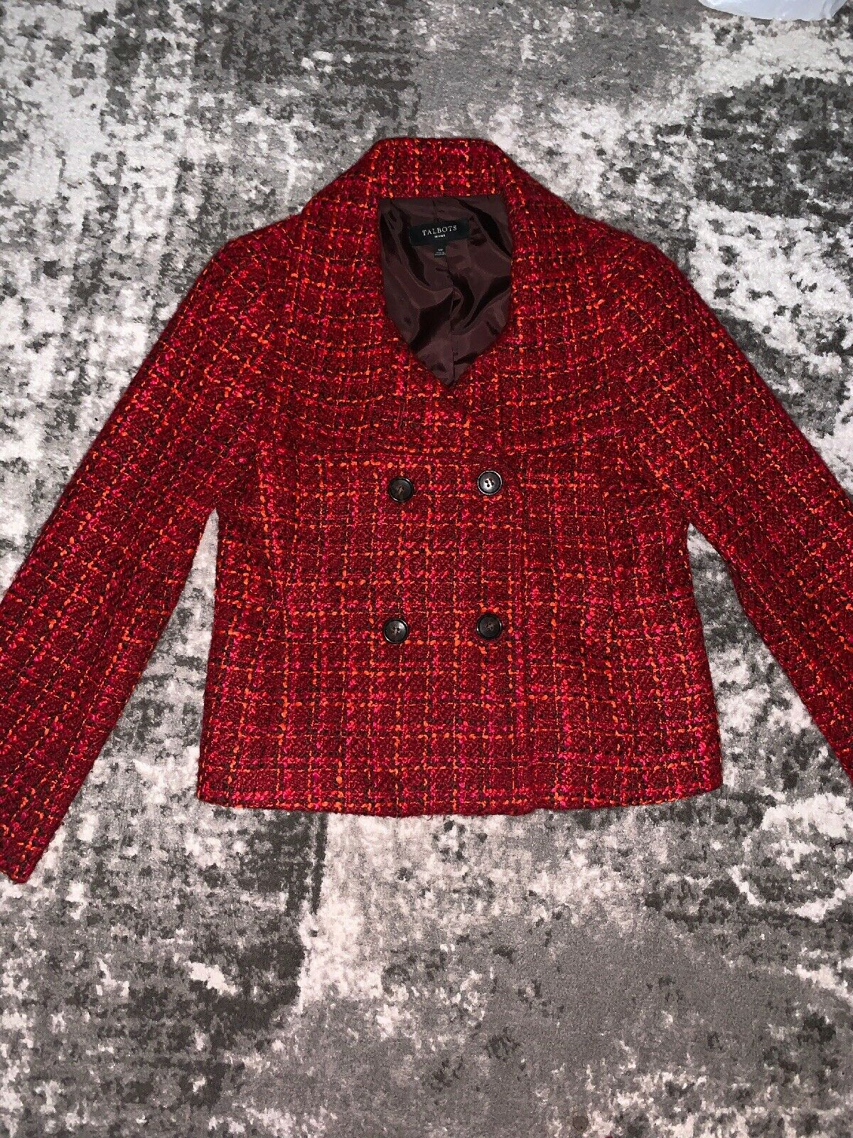 Talbots Size 10 Petite Wool Double Breasted Peacoat