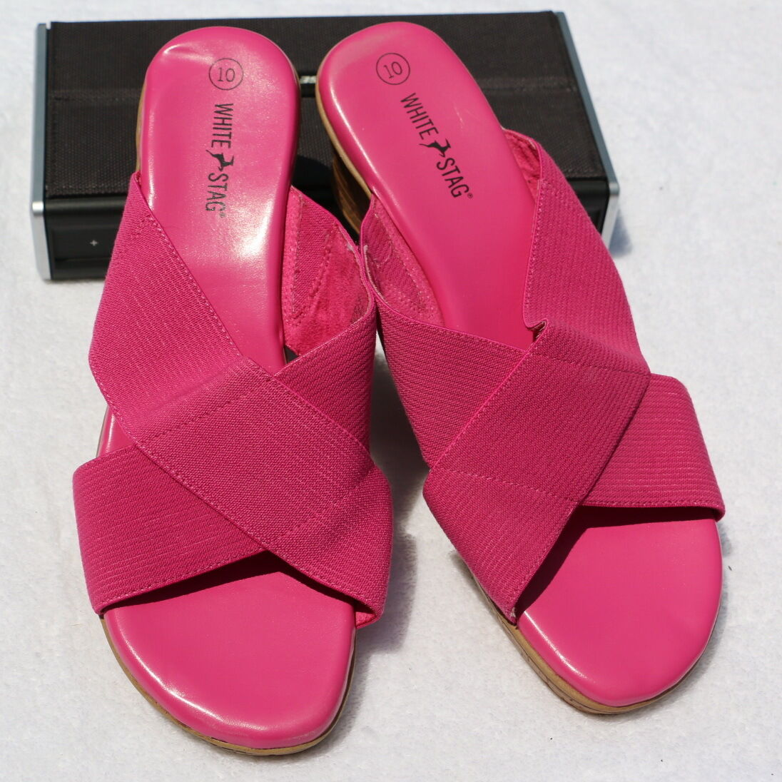 EUC Wedge White Stag Sz 10 Wedge EUC Slide Women's Sandals Pink Mid Heel Open Toe Slip-On b9a5ac