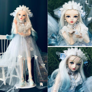 1-3-Maedchen-60cm-BJD-Doll-Puppe-Augen-Farbverlauf-Blaue-Peruecken-Schuhe