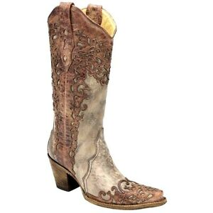 5fee9ec717e Details about Corral Women's Laser Overlay Fashion Western Boots - Sand  Cognac size 9
