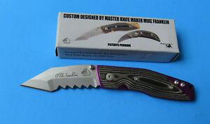 Mike-Franklin-HAWG-Tactical-Folder-Knife-NEW-Chisel-Ground-Tanto-Blade-Micarta