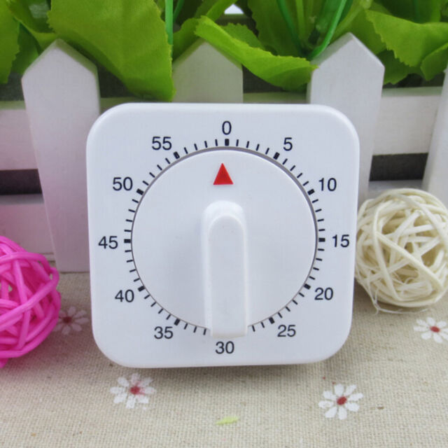 White Square 60-Minute Mechanical Timer Reminder Counting For Kitchen NoveltyMAE
