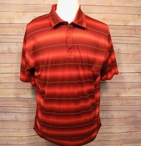 Tiger-Woods-Men-039-s-Shirt-Short-Sleeve-Golf-Polo-Maroon-Red-Striped-XL