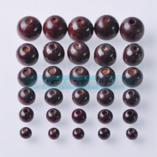 Round Dark Red Wood Spacer Bead Natural Wooden Ball Beads DIY Craft Jewelry