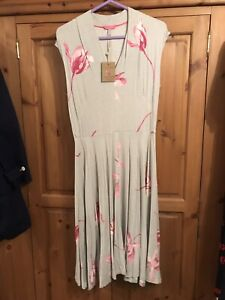 Joules Size 12 Dress Gracie Summer Grey Jersey Pink Flowers