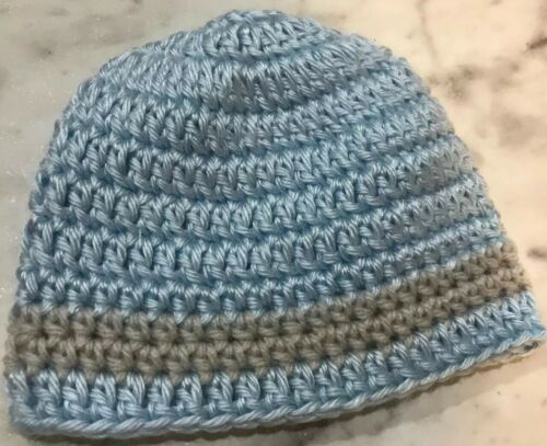 Handmade Crochet Baby Hat booties set Newborn 0-3 months Grey Blue Unisex