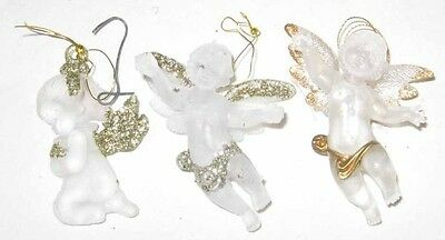 VINTAGE 3 PLASTIC ACRYLIC GOLD GLITTER ANGEL ORNAMENTS
