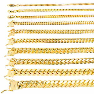 10K Yellow Gold Solid 2.7mm-10mm Miami Cuban Link Chain Necklace Bracelet 7