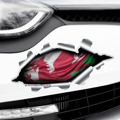 XL 60x40cm Rasgado Rasgado Look de metal diseño y Cymru Welsh Bandera Pegatina de vinilo coche