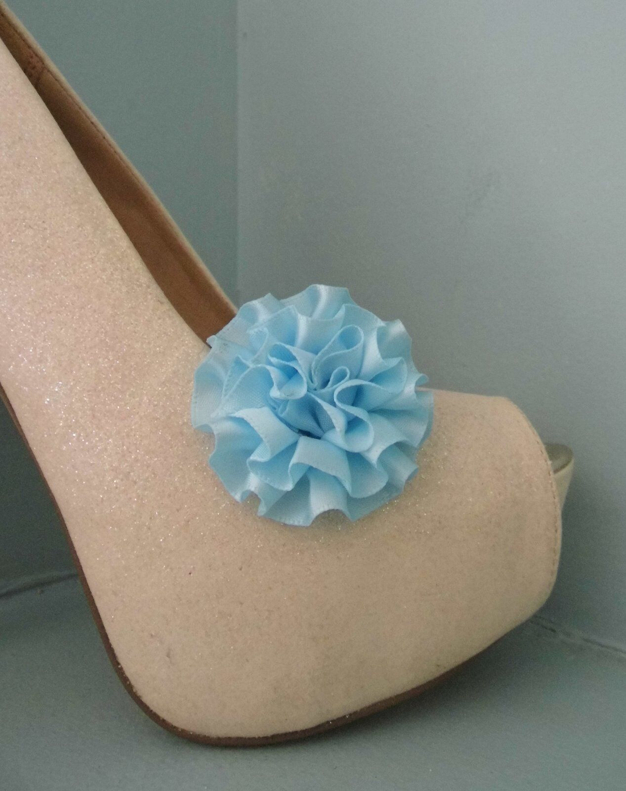 2 Small Pale Blue Rosette style Shoe Clips