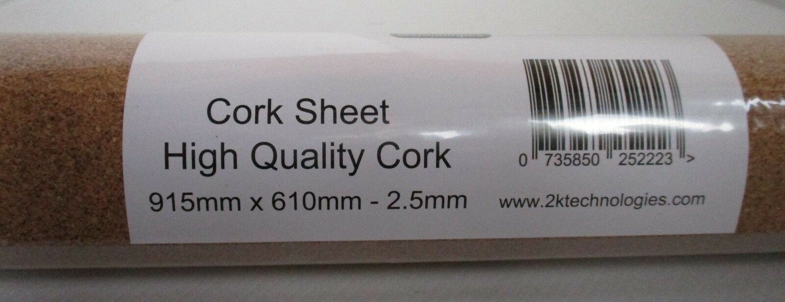 2KCork25L 6 x 2.5mm x 915mm x 610mm High Quality Cork Sheet Roll Basetavola Bed