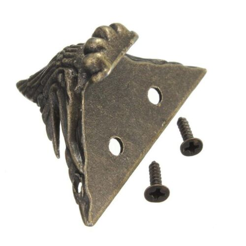 4pcs Bronze Jewelry Box Wooden Case Deco Feet Leg Metal Corner Protector