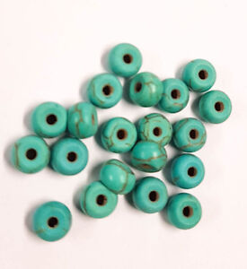 20-perle-6mm-x-4mm-Rondelle-Naturel-Pierre-Turquoise-creation-bijoux-bracelet
