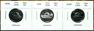 Canada-2006-2006P-amp-2006L-Five-Cents-Gem-BU-Set-of-Three-Coins