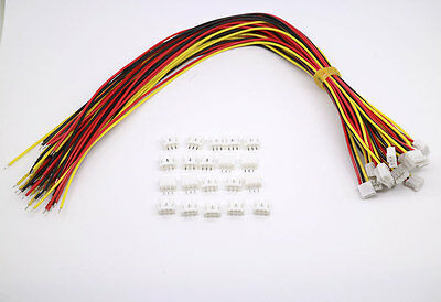 20 SETS Mini Micro JST 2.0 PH 3-Pin Connector plug with Wires Cables 300mm