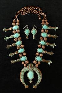 Squash-Blossum-NECKLACE-Faux-Turquoise-amp-Copper-Earrings-24-034-27-034-29041