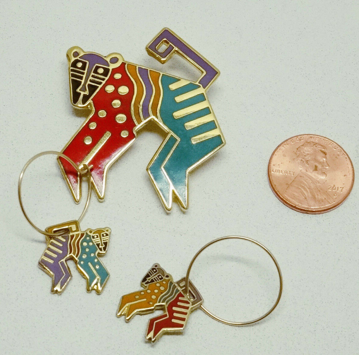 LAUREL BURCH MYTHICAL MONKEY PIN + EARRINGS  RETIRED & SIGNED - EUC