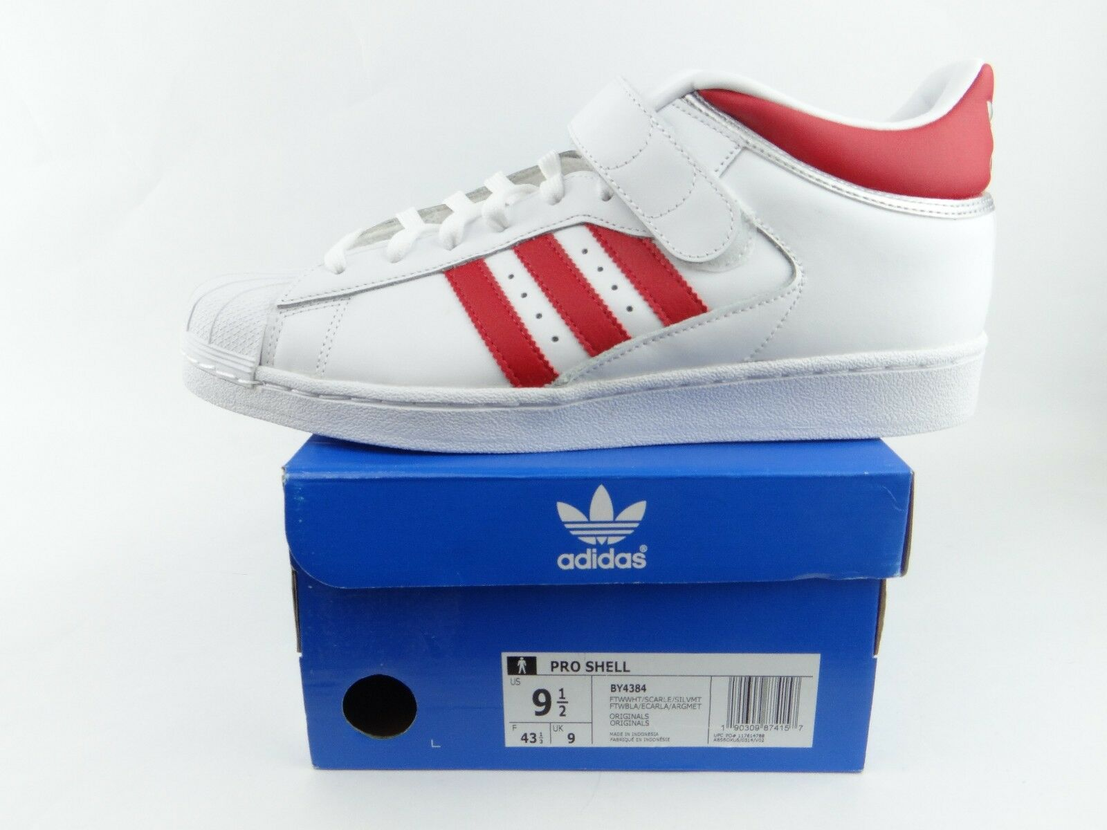 NIB Adidas Originals Pro Shell Men's White Red Silver Superstar shoes BY4384