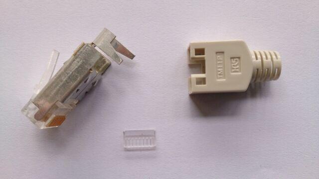 HIROSE TM11 RJ45 Stecker beige Orginal mit Tülle und Kamm 10erPack  NEU