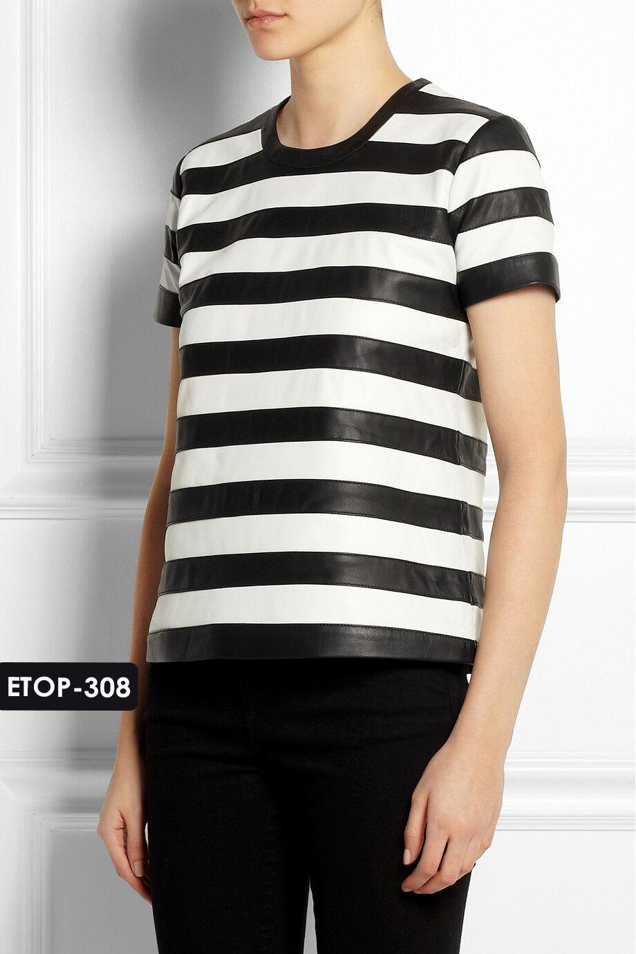 Genuine Soft Lambskin Leder Striped Top