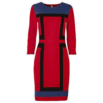 Elegantes Businesskleid 32 34 36 38 rot schwarz blau Minikleid 3/4 Arm