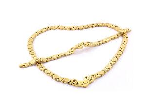 "Women Starburst Hugs /& Kisses Necklace Bracelet Set Stainless Steel Two Tone 18/"""