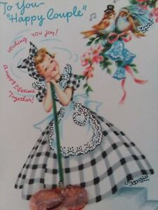 Vtg-Gingham-Dress-LADY-w-Dust-Mop-Happy-Couple-Doehla-CONGRATS-GREETING-CARD