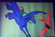 Vintage 70's Pegasus Pterodactyl Girl Archer Blacklight Poster  DRAGON BIRD