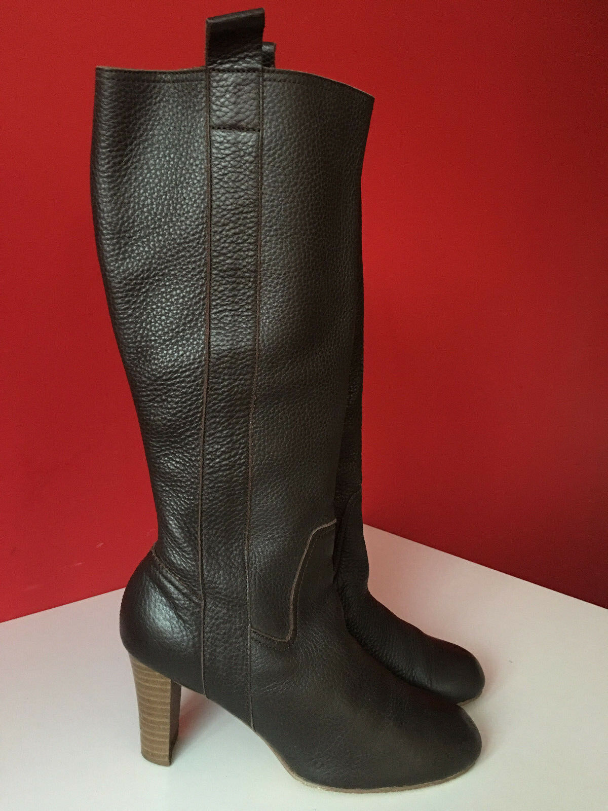 M&S Marks & Spencer Brown Leather Pull On Knee High Boots Size 5.5 EUR 39