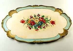 Groses-nostalgisches-Kunststoff-Tablett-mit-Blumendekor-LBH-50-x-33-x-1-5-cm