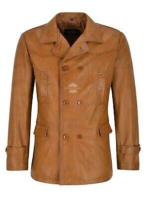 Men/'s Real Cowhide Leather Jacket Black Bronze Vintage WW2 Inspired Coat Dr Who