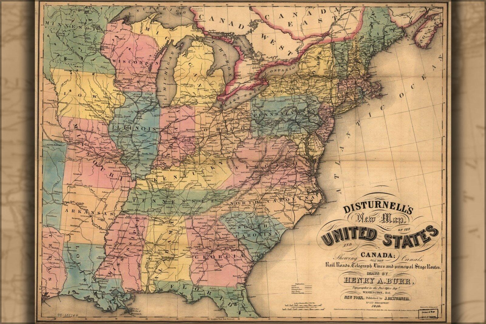 Plakat, Viele Größen; Karte von Vereinigte Staaten und Kanada 1850