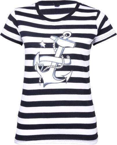 Küstenluder STRIPED Sailor ANKER Girlie 50s Shirt Matrosen Schwarz Rockabilly
