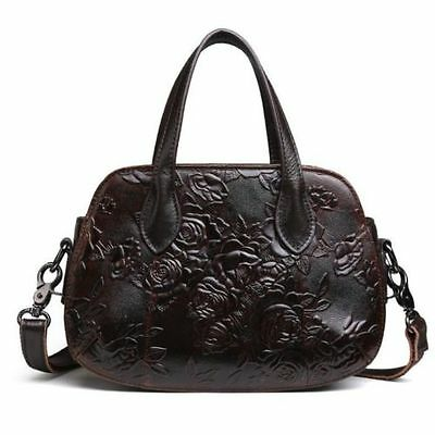 Women Coffee Genuine Leather Shoulder Messenger Bag Embossed Purse Handbag S