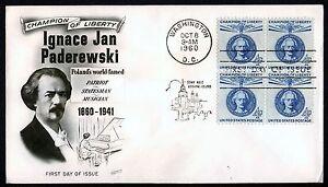 #1159 4c Ignacy Paderewski-Block De 4 , Fleetwood FDC Cualquier 5=