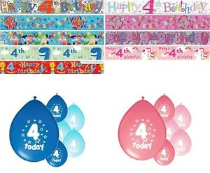 Details About 4th BIRTHDAY PARTY BANNERS PINK BLUE DECORATIONS FORTH