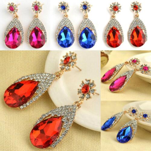 Por ejemplo /_ 1 Par Oro Plateado cuelgan gota de cristal para mujeres Zarcillos Aretes Bisutería SPLE