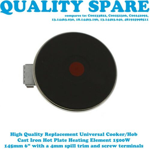 Details about  /JUNO Cooker Hob Solid Hotplate Element 145mm 1500W 4mm