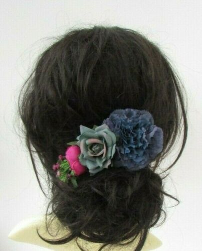 Navy Blue Petrol Green Fuchsia Pink Rose Flower Hair Comb Fascinator Floral 7019