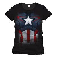 Official Mens Marvel Comics Captain America Suit Up T-Shirt Tee - Black Uniform